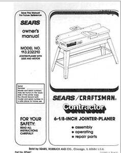 Craftsman 113.232210 Jointer-Planer Owners Instruction