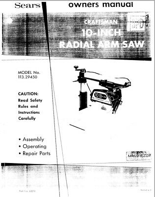 Craftsman 113.29450 Radial Arm Saw Owners Instruction