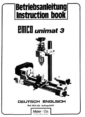 EMCO Unimat 3 Lathe Use and Maintenance Manual and Parts