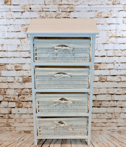 details sur 4 tiroir cadre en bois osier panier tiroir meuble de rangement lit salle de bain rangement afficher le titre d origine