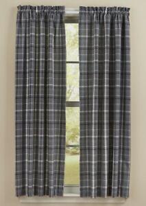 details about beaumont panel curtains 72wx63l gray black white plaid cotton country farmhouse