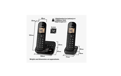 Cordless Panasonic Phone KX-TGC223EB Triple LCD Display
