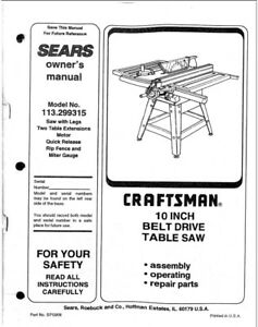 Craftsman 113.299315 Table Saw Owners Instruction Manual