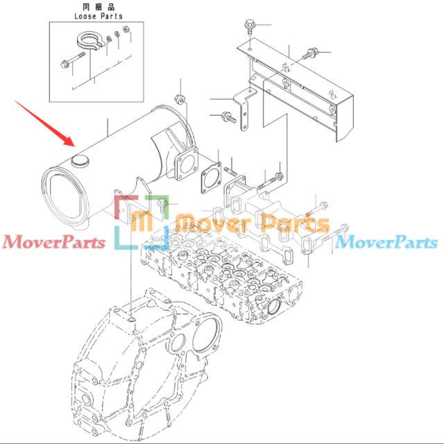 Muffler YM129642-13510 for Komatsu PC40MR-2 PC50MR-2