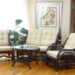 2 Chairs And Table Rattan Outdoor Patio Chair Cushions Clearance Malibu Living Set Loveseat Coffee Dark Brown Image Is Loading