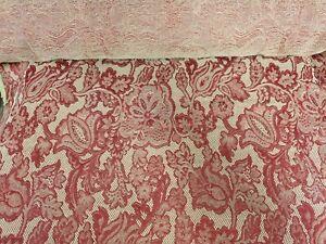 details sur tissu d ameublement tapisserie fleur rouge fond beige pour sieges et rideaux