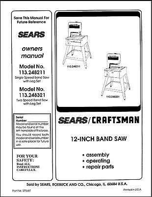 Craftsman 113.248211 113.248321 Band Saw Owners