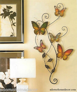 details about metal butterfly wall decor art garden cottage unique indoor outdoor patio decor