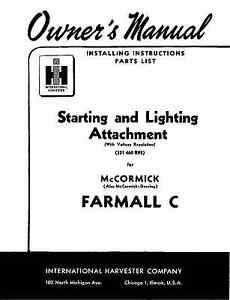 FARMALL C Starting and Lighting Operators Owners