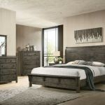 Contemporary Brown Gray Color 4p Queen Size Bed Solid Wood Furniture Bedroom Set For Sale Online