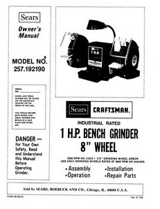 Craftsman 257.192190 1 HP Bench Grinder (8