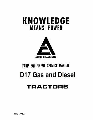 Allis Chalmers D17 Tractor Service Manual Book