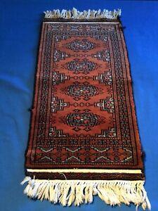 details sur tapis de priere ancien pakistanais en laine fait mains etiquette au dos