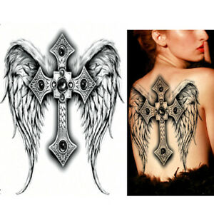 Full Back Tattoo Large Angel Wings Cross Halloween Adult Women Men