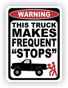 Funny Decals For Lifted Trucks : funny, decals, lifted, trucks, Truck, Frequent, Stops, Warning, Decal, Sticker, Funny, Redneck, Diesel