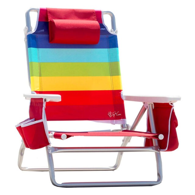 beach chair cup holder high lift office nz nautica with cooler rainbow color 5 position recline