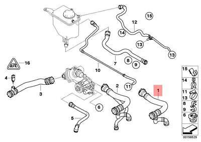 Genuine Radiator Supply Hose BMW E60 E61 545i Sedan Wagon
