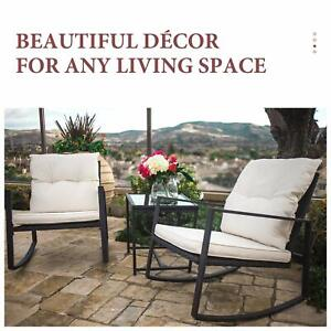details about 3 piece rocking bistro set wicker patio outdoor furniture porch chairs cushions