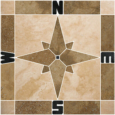 12 travertine compass rose mosaic tile medallion backsplash wall flooring floor ebay