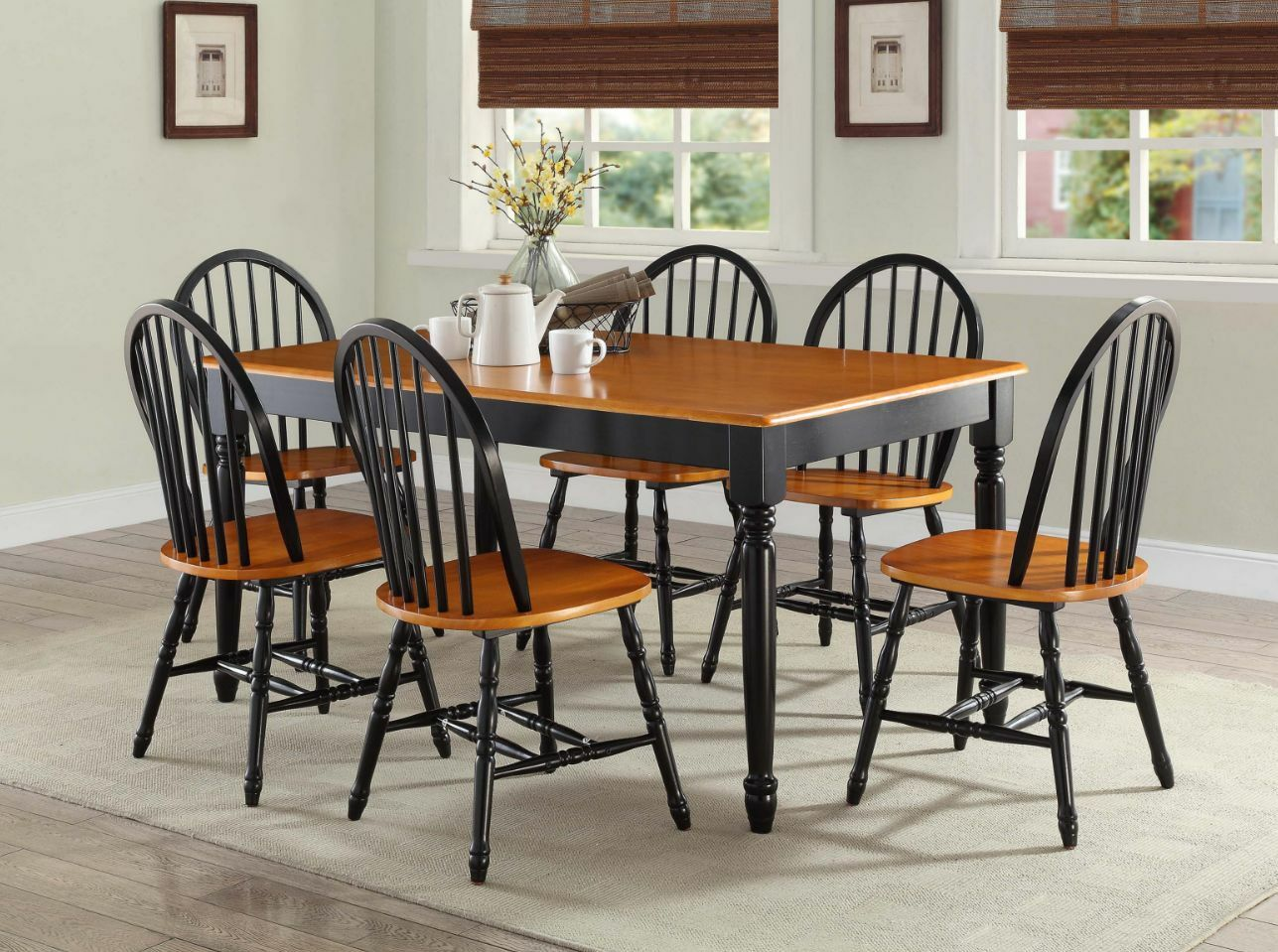 Farmhouse Table And Chairs Set 7 Pc Dining Room Sets Table Chairs Wood Farmhouse Windsor