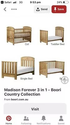 boori country collection madison 3 in 1 cot bed sofa beddinge slipcover cots bedding gumtree australia