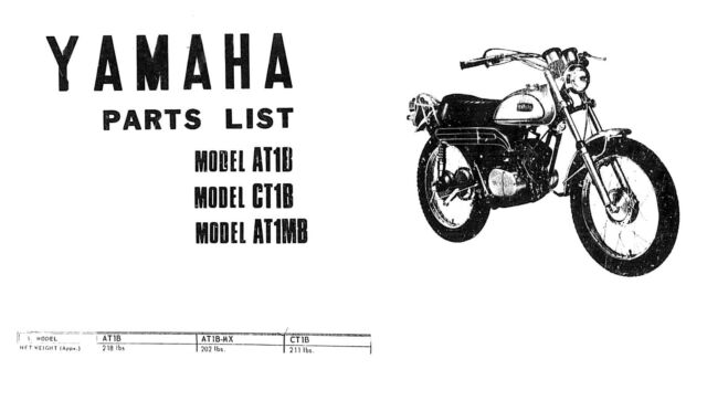 Yamaha 1969 AT1B CT1B AT1MB Parts List Motorcycle Manual