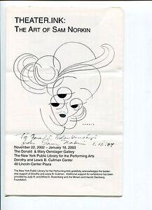 Sam Norkin Famous Theater Cartoonist Artist Signed