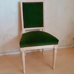 details sur chaise bois massif peint blanc velours style empire 93 x 46x44 cms assise 45 cm