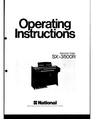Technics SX-3500R Electronic Organ Owners Instruction