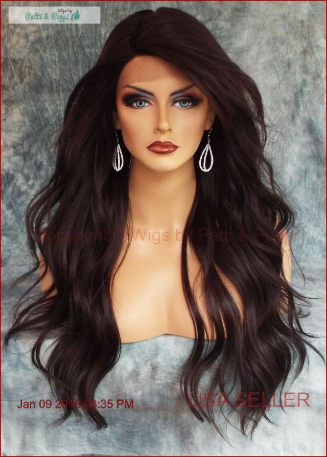 long loose beach waves wig lace front heat safe color #4 brown 464 a