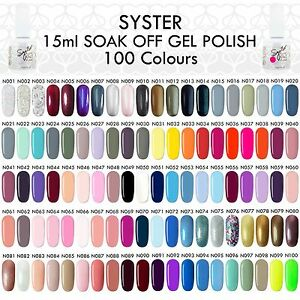 SYSTER New 100 Colours 15ml Nail Art Soak Off Gel Polish Manicure UV / LED Lamp