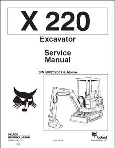 Bobcat X220 Compact Excavator Service Manual on a CD