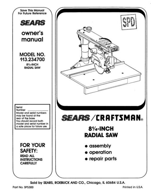 Craftsman 113.234700 Radial Saw Owners Instruction Manual