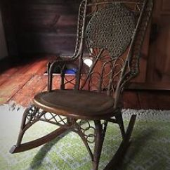 Heywood Wakefield Wicker Chairs Barber Antique Early Rocking Chair Ebay Image Is Loading