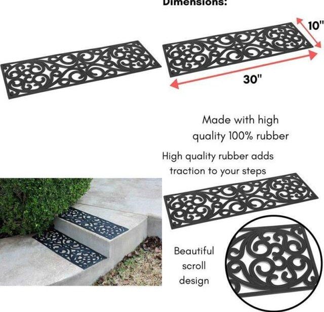 Keeps Your Floors Clean 2 Pack Decorative Design Birdrock Home 9 X | Decorative Rubber Stair Treads | Modern Exterior Stair | Pattern | Pie Shaped | Abrasive | Dark Wood Step