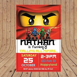 details about personalised lego ninjago kids party invitations invites digital you print