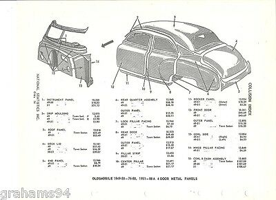 1949 50 51 Oldsmobile Four Door Body Panel NOS Part Guide