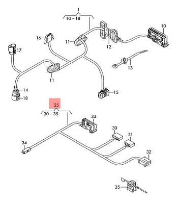Genuine VW Caddy Wiring Harness For Door Trim Panel