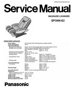 Panasonic EP3006 Massage Lounge Chair Service Manual