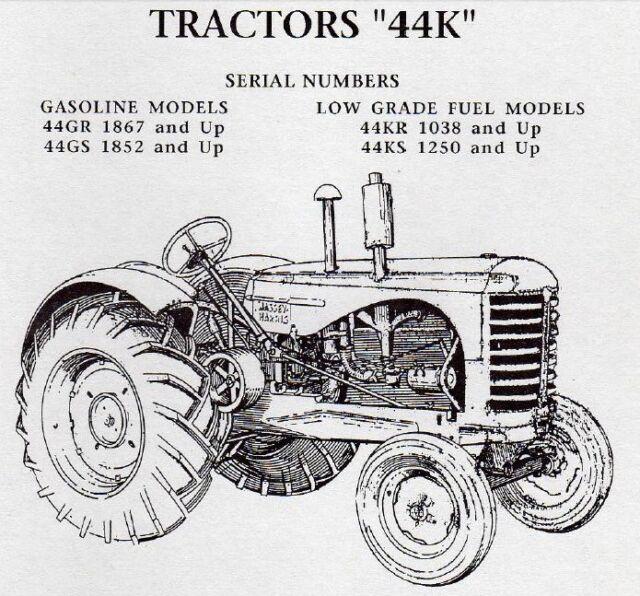 Massey Harris 44 44K Tractors Service Repair Operator