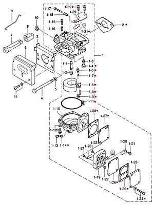 369871221M Nissan & Tohatsu Marine Carburetor Repair Kit