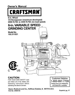 Craftsman 152.211521 Bench Grinder Owners Instruction