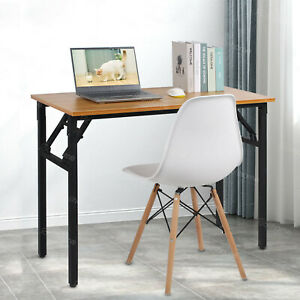 details about folding study coffee table foldable computer desk wooden laptop office classroom