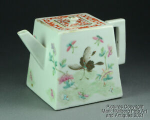 Chinese Famille Rose Porcelain Teapot, Butterflies, Late 19th to Early 20th C.