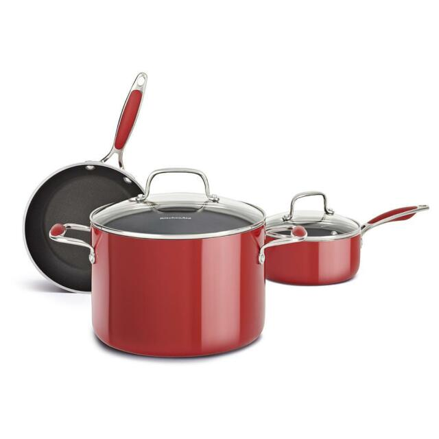 kitchen aid pans inexpensive island kitchenaid aluminum nonstick 5 piece cookware pots and set new red