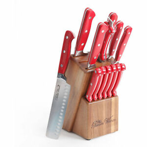 red kitchen knife set over sink light the 14pc pioneer woman cowboy rustic cutlery