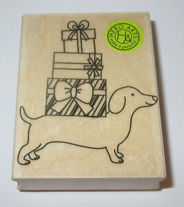 holiday dachshund rubber stamp