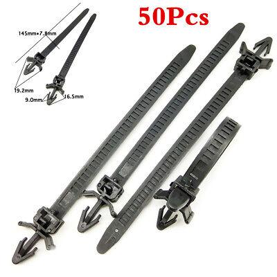 50PCS Black Nylon Tie wrap Car Loom Hose Clamp Bundled