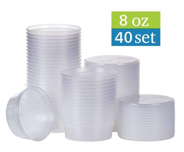 [TashiBox] 8 oz plastic food storage containers with lids - 40 sets , New 2
