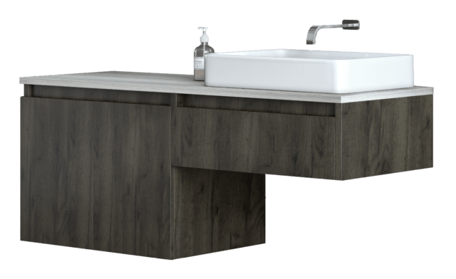 contemporary wall mount floating bathroom vanity with vessel sink 48 inch
